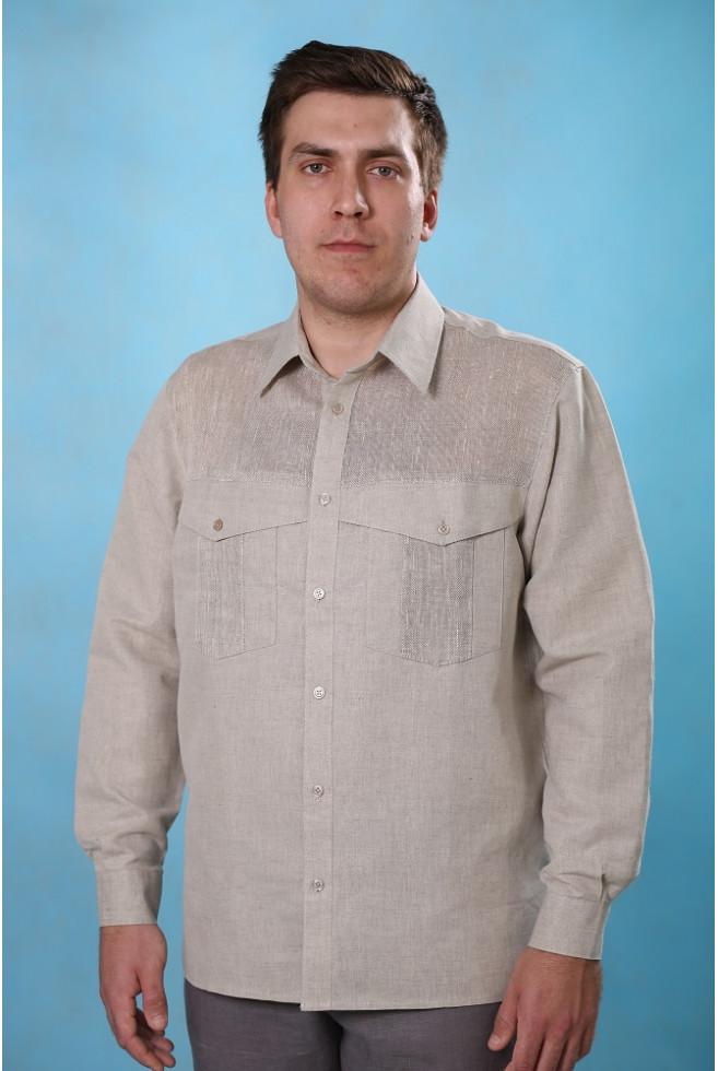 Сорочка мужская лен+сетка