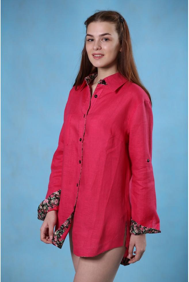 Блуза с трикотажной отделкой
