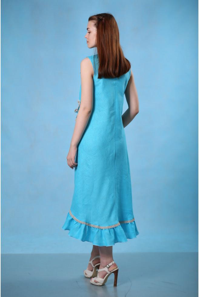 Платье без рукава с аппликацией