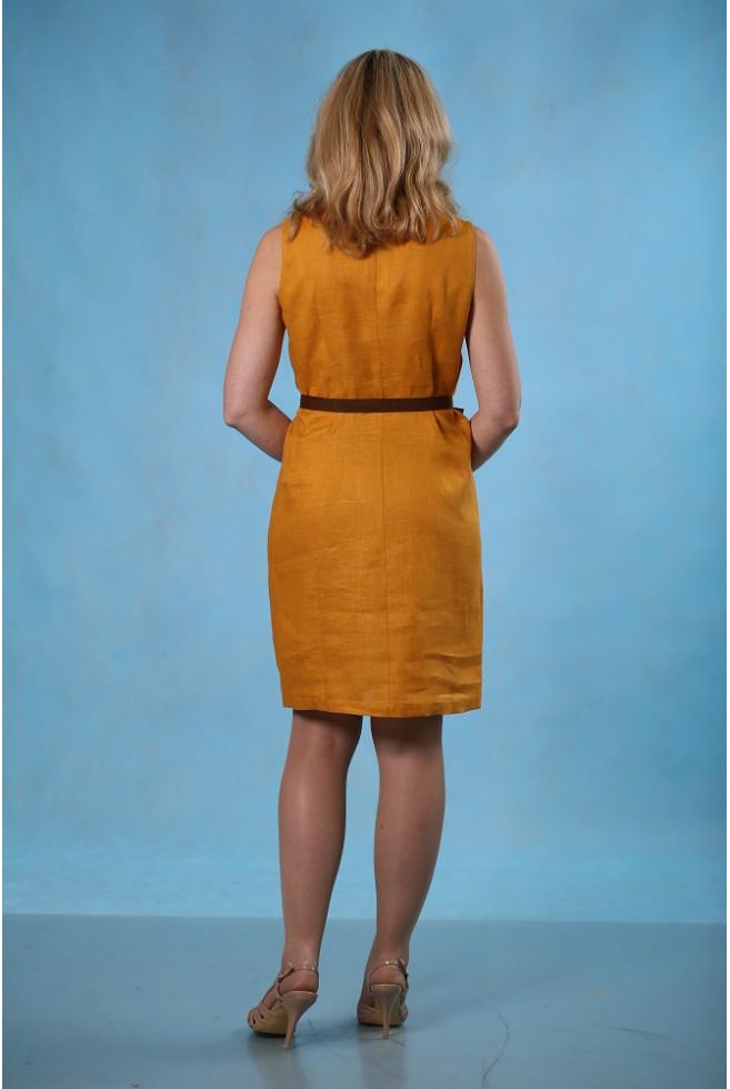 Платье комбинированное с поясом
