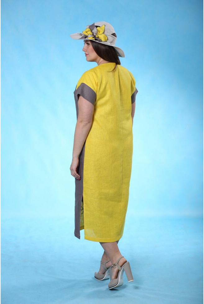 Платье комбинированное с батиком